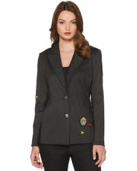 Laundry by Shelli Segal - Notched-collar Striped Jacket With Patches - Lyst