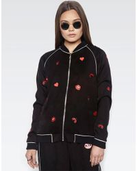 Lauren Moshi - Paris Ladybug Love Kiss L/s Bomber Jacket W/piping - Lyst