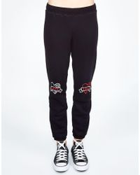 Lauren Moshi - Gia Love Hate Hearts Embroidered Sweatpant - Lyst