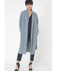 Lavish Alice - Striped Wool Robe Coat In Powder Blue - Lyst