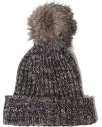 Lavish Alice - Salt & Pepper Knit Faux Fur Pom Pom Beanie Hat - Lyst