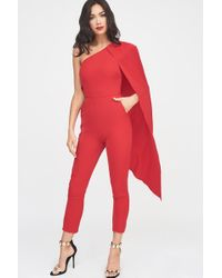 Lavish Alice - One Shoulder Cape Tailored Jumpsuit In Red - Lyst