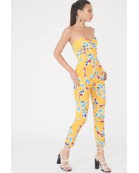 Lavish Alice - Twisted Front Bandeau Jumpsuit In Yellow Floral - Lyst