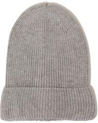Lavish Alice - Light Grey Cashmere Rib Knit Beanie Hat - Lyst