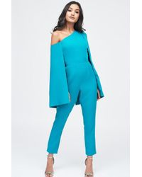 0d605e9a85a Lavish Alice - One Shoulder Cape Tailored Jumpsuit In Jade Green - Lyst