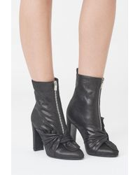 Lavish Alice - Twist Front Heeled Ankle Boots In Black Leather - Lyst