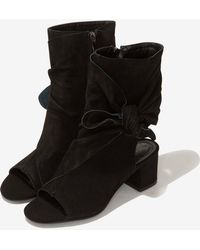 Lavish Alice - Suede Open Toe Ankle Boots In Black - Lyst