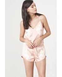Lavish Alice - Nude Satin & White Crochet Cami Pyjama Top - Lyst
