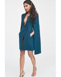 Lavish Alice - Fitted Tuxedo Cape Mini Dress In Forest Green - Lyst