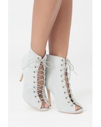 Lavish Alice - Lace Up Stiletto Ankle Boots In Grey Suede - Lyst