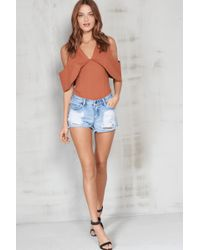 Pieces - Light Denim Ripped Shorts - Lyst