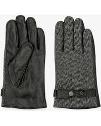 Le Chateau - Leather & Tweed Gloves - Lyst