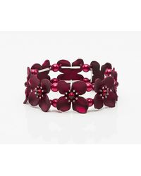 Le Chateau - Floral Gem & Pearl-like Stretch Bracelet - Lyst