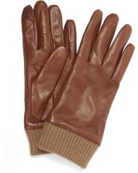Portolano - Nappa Ribbed Cuff Gloves - Lyst