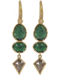 Brooke Gregson - Gold Orbit Emerald Diamond Geometric Drop Earrings - Lyst