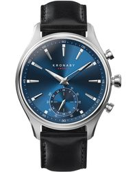 Kronaby - Sekel Black Leather Strap Smart Watch - Lyst