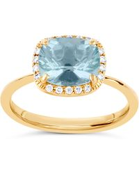 Dinny Hall - Gold Sheba Cushion Landscape Aquamarine Ring - Lyst