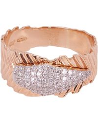 Kismet by Milka - Rose Gold White Diamond Quill Ring - Lyst