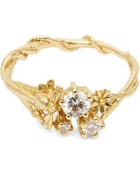 Alex Monroe - Gold Beekeeper Diamond Cluster Ring - Lyst