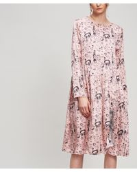 Shrimps - Heather Doodle-print Silk Dress - Lyst