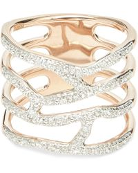 Monica Vinader - Rose Gold Vermeil Riva Waterfall Diamond Cocktail Ring - Lyst