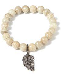 Tai - Cream Marble Beaded Feather Bracelet - Lyst