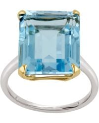 Dinny Hall - Silver And Gold Amica Blue Topaz Ring - Lyst