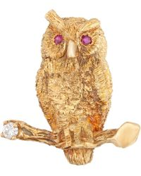 Kojis - Gold Ruby And Diamond Owl Brooch - Lyst
