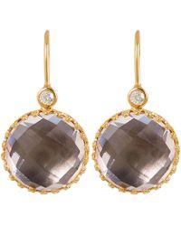 Larkspur & Hawk - Gold-washed Silver Olivia Button White Quartz Diamond Earrings - Lyst