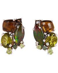 Stephen Dweck - Silver Gemstone Cluster Clip-on Earrings - Lyst