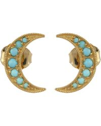Andrea Fohrman - Mini Crescent Moon Studs With Turquoise - Lyst