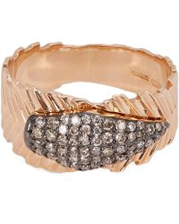 Kismet by Milka - Rose Gold Champagne Diamond Quill Ring - Lyst