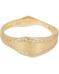 Satomi Kawakita Gold White Diamond Wave Band Ring