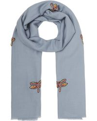 Janavi - Embellished Dragonfly Merino Wool Scarf - Lyst