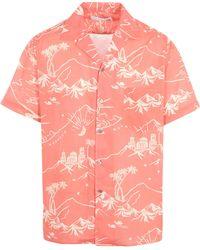 Desmond & Dempsey - Map Print Short Sleeve Pyjama Top - Lyst