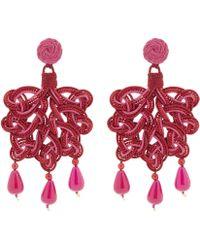 Anna E Alex | Silk Passementerie Foglia Rose Silica Quartz Drop Earrings | Lyst