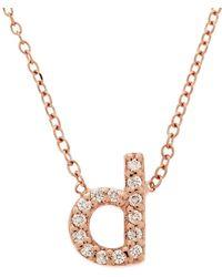 KC Designs - Rose Gold Diamond Letter D Necklace - Lyst