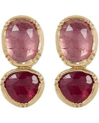 Brooke Gregson - Gold Double Orbit Pink Sapphire And Ruby Earrings - Lyst