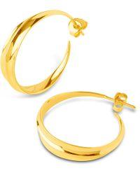 Dinny Hall - Medium Gold-plated Lotus Hoops - Lyst