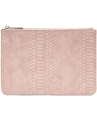 Estella Bartlett Snake Print Faux Leather Medium Pouch - Pink