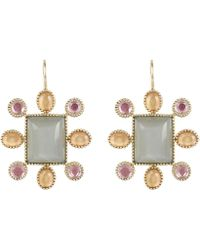 Larkspur & Hawk - Gold Cora Moonstone Cushion Earrings - Lyst