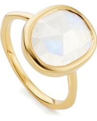 Monica Vinader - Gold Vermeil Moonstone Siren Medium Stacking Ring - Lyst