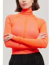 Acne Studios Komina Thin Ribbed Knit Fluro Roll-neck Top - Red