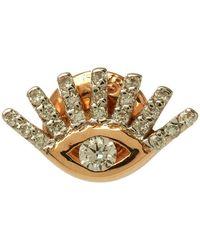 Kismet by Milka | Rose Gold Evil Eye White Diamond Stud Earring | Lyst