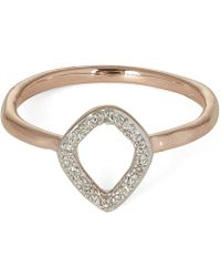 Monica Vinader - Rose Gold-plated Riva Mini Kite Diamond Stacking Ring - Lyst