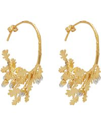 Alex Monroe - Silver And Gold-plated Oak Leaf And Acorn Branch Hoops - Lyst