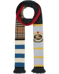 Burberry - Vintage Football Crest Cashmere Knit Scarf - Lyst