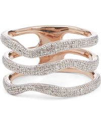 Monica Vinader - Riva Diamond Wave Triple Band Ring - Lyst