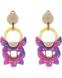 Lele Sadoughi - Rio Crystal Floral Drop Clip-on Earrings - Lyst