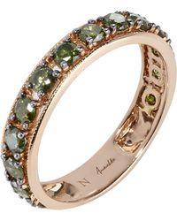 Annoushka - 18ct Rose Gold Dusty Diamonds Green Diamond Eternity Ring - Lyst